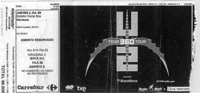 U2-360º BARCELONA, 2 JULIO 2009