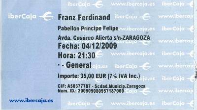 Franz Ferdinand. Zaragoza 4 de Diciembre de 2009